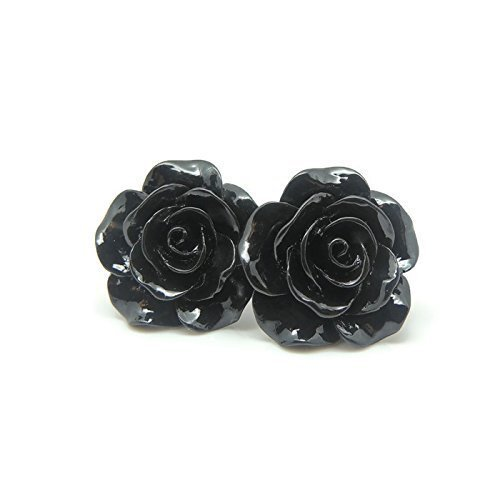 Large Rose Earrings on Plastic Posts for Metal Sensitive Ears, Black