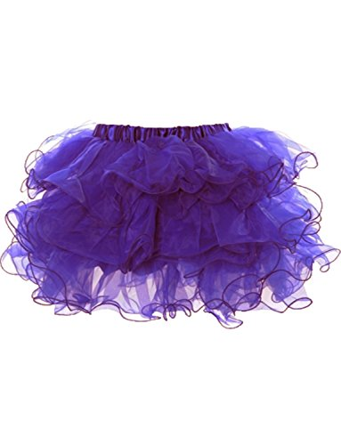 [Yummy Bee Womens Frilly Tulle Tutu Skirt Burlesque Ra Ra Costume Plus Size Purple, 2 - 4] (Pink Moulin Rouge Costumes)