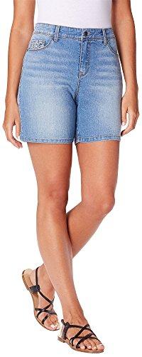 Gloria Vanderbilt Majesty Denim Shorts Light Blue (Cotton Denim Jeans Shorts)