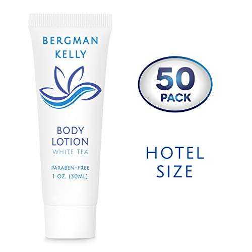 BERGMAN KELLY Travel Body Lotion (1 Fl Oz, 50 PK, White Tea), Delight Your Guests with a Revitalizing and Refreshing Body Lotion, Quality Mini and Small Size Guest Hotel Toiletries in Bulk ()