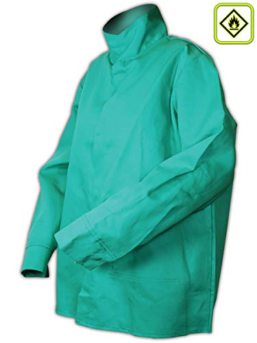 (Magid Glove & Safety 1530RF-XXL Magid 1530RF Green Arc-Rated 9.0 oz. Cotton Relaxed Fit Jacket, 30 Unhemmed, Green, XXL)