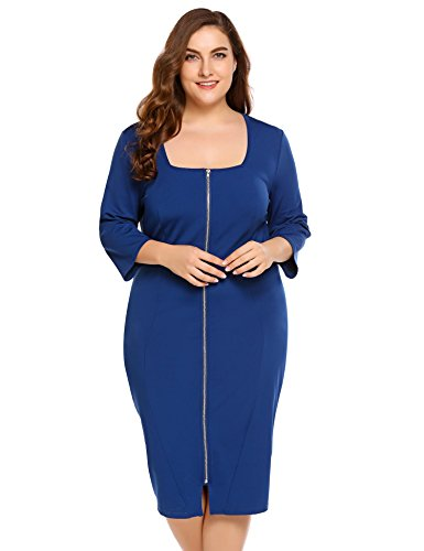 - IN'VOLAND Womens Plus Size 3/4 Sleeve Square Neck Zip Front Midi Bodycon Dress - Ladies Sexy Peplum Package Hip Party Pencil Dresses Cocktail Outfit Club Wear