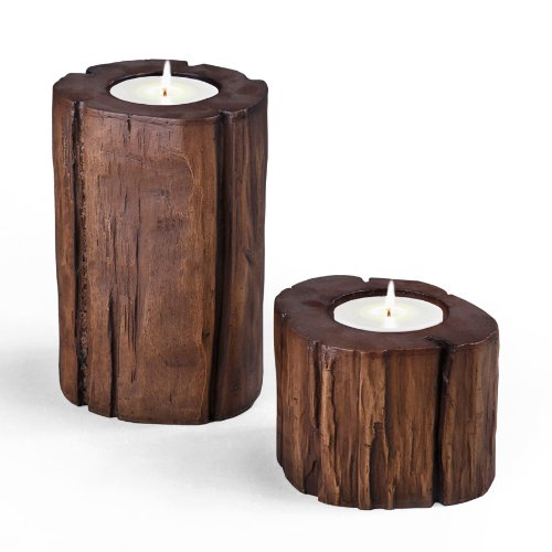 CompoClay Smooth Tree Stump Candle Holder, Set of 2