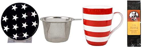 Stars and Stripes Tea Mug, Infuser and Lid in Gift Box and 6 Tea Bags, Bundle 2 Items