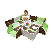 Wee Giggles Non-Toxic, Extra Thick Foam Play Mat for Tummy Time and Crawling (Green)