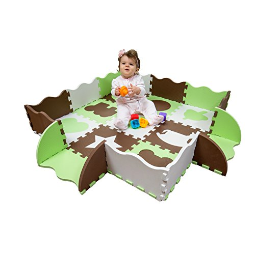 Foam Time (Wee Giggles Non-Toxic, Extra Thick Foam Play Mat for Tummy Time and Crawling (Green))