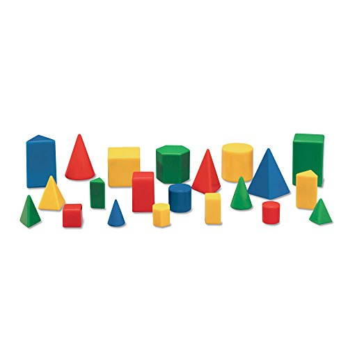 hand2mind Plastic Geometric Solid Blocks, Assorted Colors, Mini 3D Shapes (Set of 12)