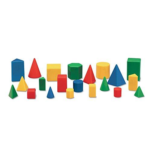 hand2mind Plastic Geometric Solid Blocks, Assorted Colors, Mini 3D Shapes (Set of 12)