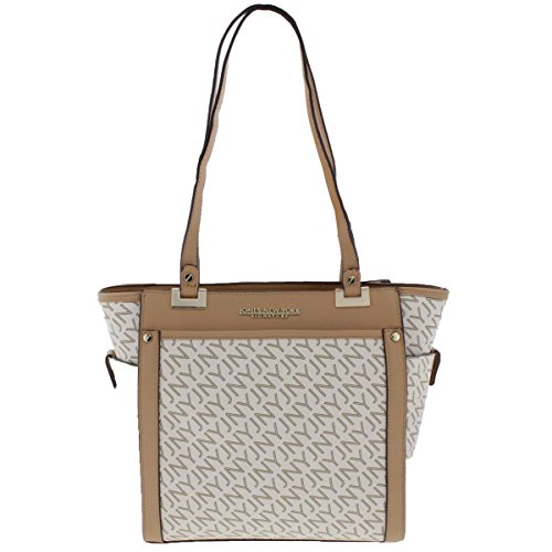 Jones New York Womens Tory Faux Leather Logo Tote Handbag Ivory Medium ()