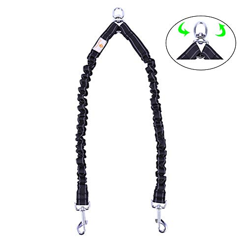 2 Dog Leash,Double Dog Leash Coupler Tangle Free Bungee Dog Leash, 360°Swivel No Tangle Double Dog Walking & Training Leash, Comfortable Shock Absorbing Reflective Bungee Lead Walk 2 Dogs with Ease