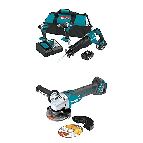 "Makita XT328M 4.0 Ah 18V LXT Lithium-Ion Brushless Cordless Combo Kit, 3 Piece  with XAG04Z 18V LXT Lithium-Ion Brushless Cordless 4-1/2"" / 5"