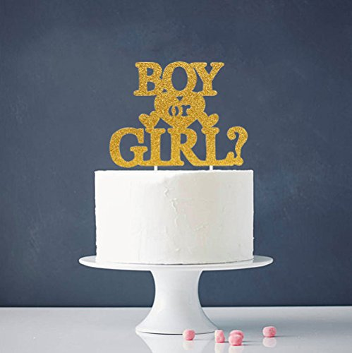 Single Sided Booth (INNORU Boy or Girl Cake Topper - Single Sided Gold Glitter Baby Show Party Photobooth Props)