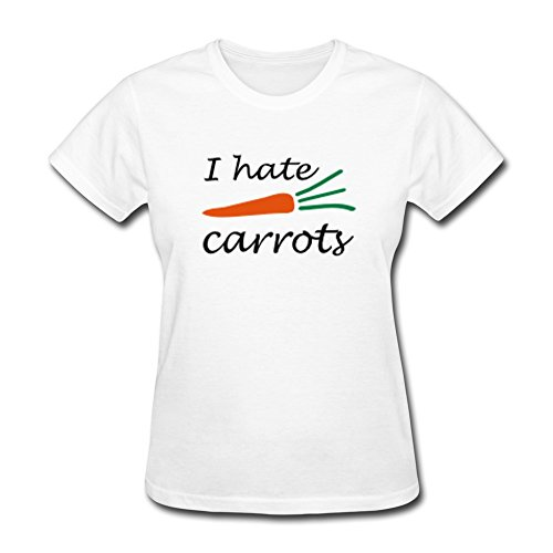 (Vansty I Hate Carrots Short Sleeves Shirt For Women White Size M)