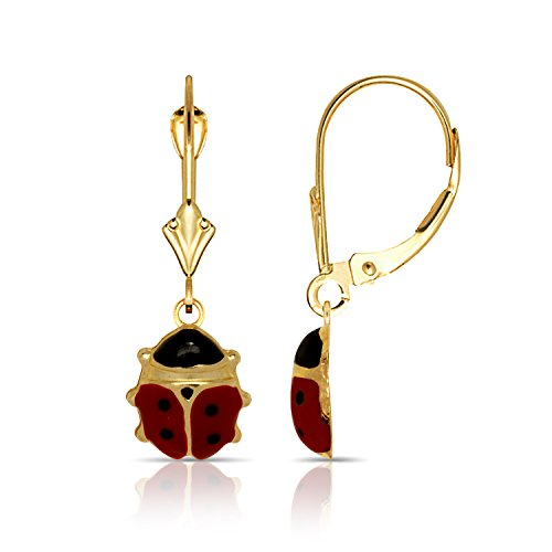 14K Yellow Gold Womens Polished Large Red Enamel Lady-bug Dangle Drop Leverback Earrings (8mm x 26mm)