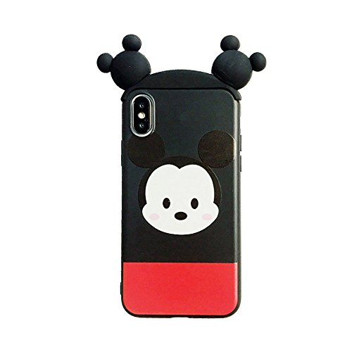new products 828e3 d8c67 Soft TPU Movable Ears Red Black Mickey Mouse Case for Apple iPhone X  iPhoneX Disney Tsum Tsum 3D Cartoon Cute Lovely High Fashion Fun Cool  Special ...