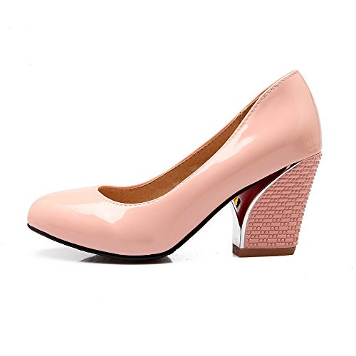 Women's On Solid Pull Closed Toe Pink Heels High Shoes WeenFashion Round Leather Pumps Patent wX6dAqX