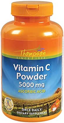 Thompson Vitamin C Powder | 5000mg | 100% Pure Ascorbic Acid | Immune Support & Antioxidant Supplement | No Fillers, No Excipients | 8 oz