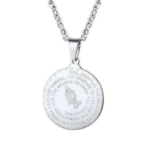 a9b019cbced Prosteel Bible Verse Lord Prayer Necklace Men Praying Hands Coin Medal  Pendant Women Christian Gift 316L