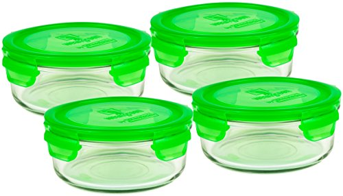 (Wean Green 4 Pack Meal Bowls 22 Ounce Large Tempered Glass Leak-proof Bowls - Pea)
