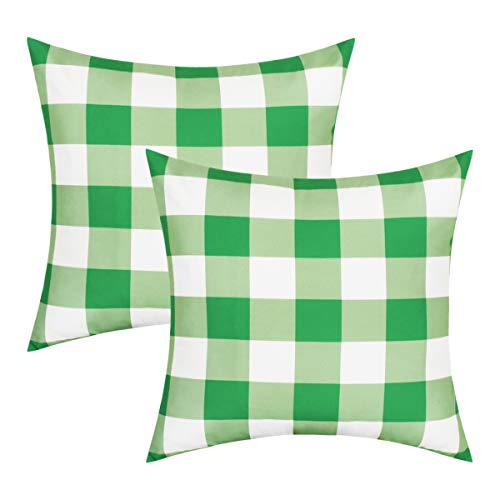 BLEUM CADE Throw Pillow Covers Set of 2 Green Lattice Throw Cushion Case St.Patrick's Day Pillow Cases Holiday Decor Home (Best Cover For Holidays)
