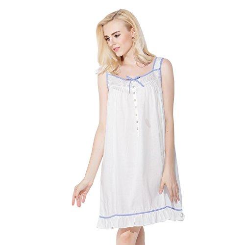 Dorekim Mujeres Casual sin mangas pajarita Square Collar Sleepdress ropa de dormir blanco DK3002