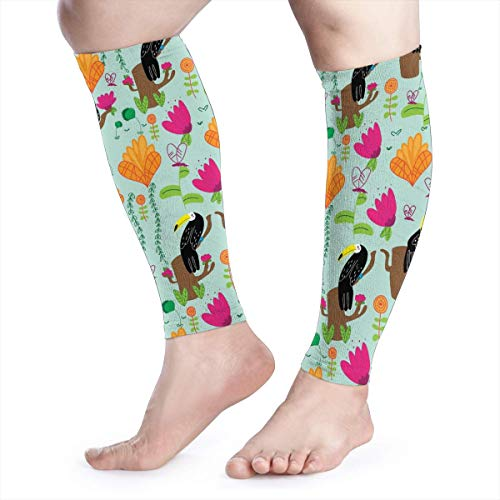 Toucan On Branch Calf Compression Sleeve Men Womens Running Leg Sleeve for Shin Splint Muscle Pain Relief (1 Pair)