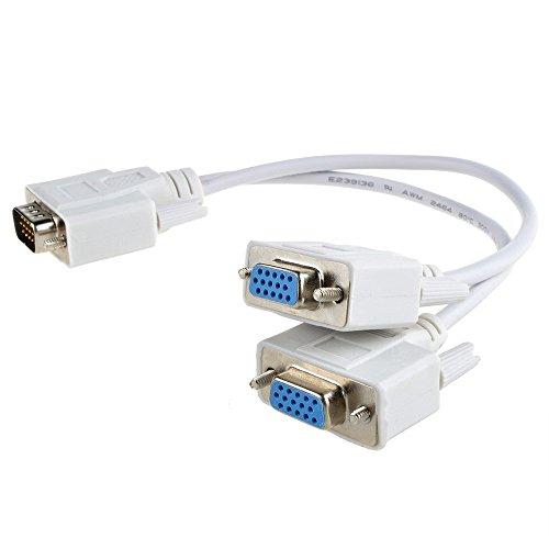 Svga Cable Splitter (SLLEA 1 PC to 2 Way VGA SVGA Monitor Y Splitter Cable Lead 15Pin Male Female LCD)