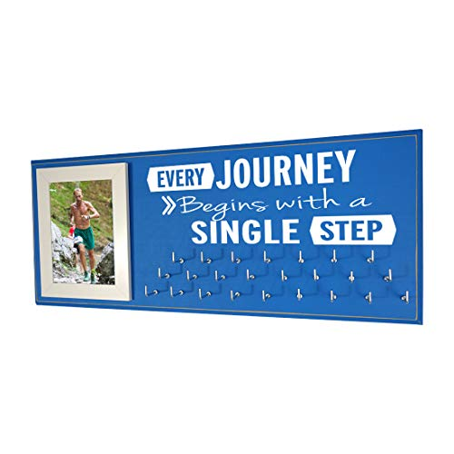 Running On The Wall-Gifts for Runners-Marathon Medal Display-Medal Rack for Running- Awards Hanger - Wall Mounted Holder-Every Journey Begins with A Single ()
