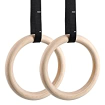 femor Gym Rings, Wood Gymnastic Rings Adjustable Straps, Heavy Duty Gym Equipment Cross-Training Workout, Strength Training, Gymnastics, Fitness, Pull Ups Dips (Set of 2)