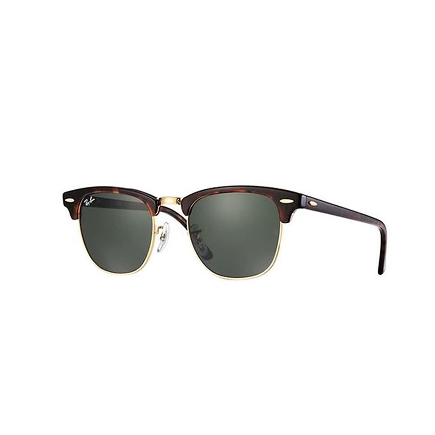 ray ban polarized sunglasses models  amazon: ray ban clubmaster mock tortoise/ arista frame crystal green lenses 49mm non polarized: ray ban: clothing