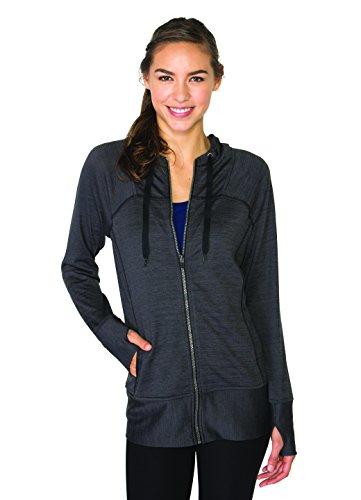 RBX Active Women's Lightweight Sweater Zip Hoodie Jacket with Contrast Trim
