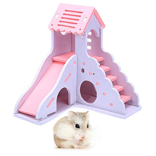 kathson Hamster House Hideout Hideaway Exercise Toys for Rat,Dwarf Hamster Mouse Small Animal Kingdom,Durable Odorless Non-Toxic Wooden Deluxe 2-Story Hut - Hamster Pink