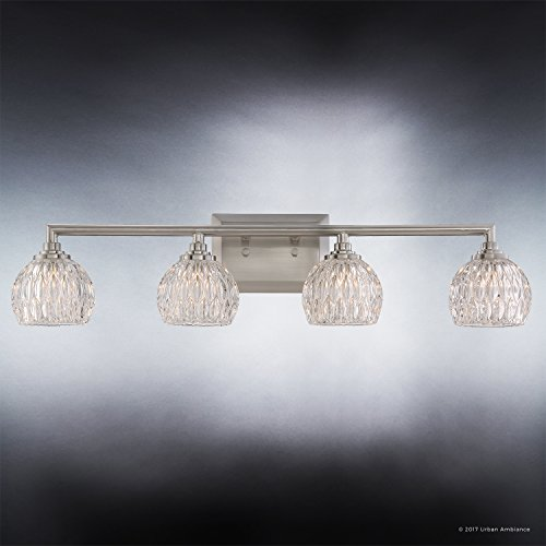 Luxury Crystal LED Bathroom Vanity Light, Large Size: 6.25''H x 28''W, with Classic Style Elements, Brushed Nickel Finish and Marquis Cut Glass Shades, G9 LED Technology, UQL2622 by Urban Ambiance by Urban Ambiance (Image #3)