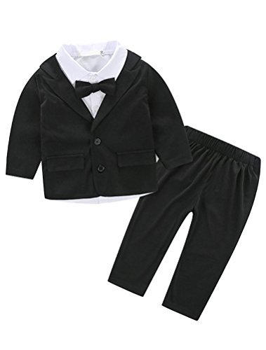Coat Gentlemans (Abolai Baby Boys Gentleman Sets Blazer and Pant and Long Sleeve Shirt 3pcs Leisure Suit Black 100)