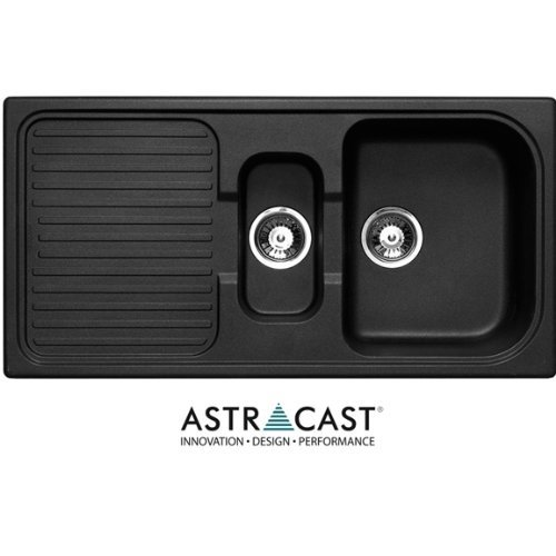Astracast 1.5 Bowl Composite Kitchen Sink in Volcanic Black-Reversible by Astracast