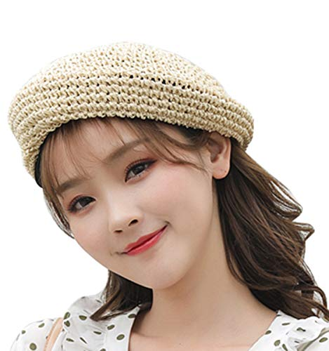 Straw Beret Solid Plain Flat Top Woven Berets Fashion French Style Painters Hat Cap Beige