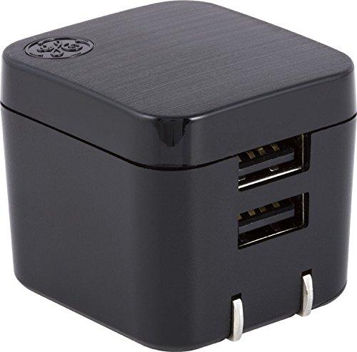 GE Pro Wall Charger 2 USB Ports, 2.4AMP, 12 Watt, Rapid Charge, Foldable Plug, Black, 35783,