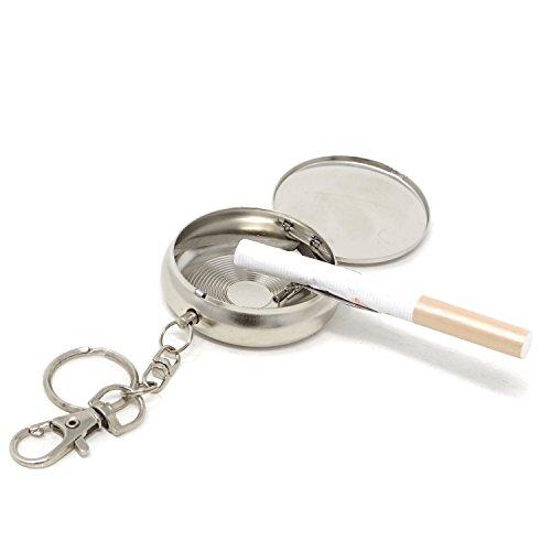 (HONBAY Round Shape Portable Pocket Ashtray with Cigarette Snuffer and Key Chain,Random Pattern)