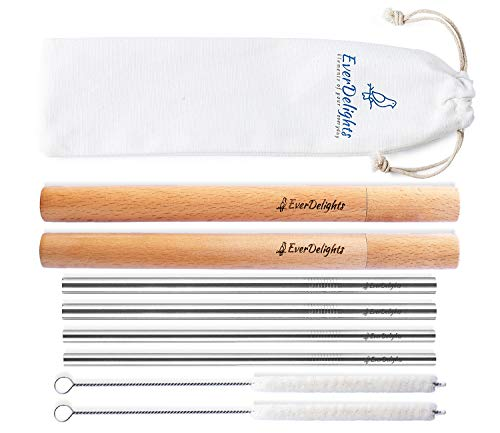 (Stainless Steel Metal Reusable Straws with Case   Set of 4 Straight Straws & 2 Portable Wooden Travel Cases & 2 Cotton Cleaning Brushes   Eco Friendly 8.5