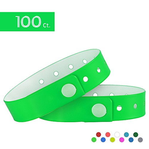 (Ouchan Plastic Event Wristbands Neon Green- 100 Pack Vinyl Wristbands for Party)