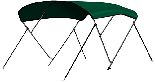 Leader Accessories 3 Bow Green 6L x 46 H x 54-60 W Bimini Top Boat Cover 4 Straps for Front and Rear Includes Mounting Hardwares with 1 Inch Aluminum Frame