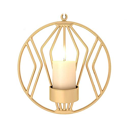 (LAUDOAES 3D Geometric Candlestick Iron Wall Candle Holder Sconce Tealight Home Decor XH8Z NO20 Gold)