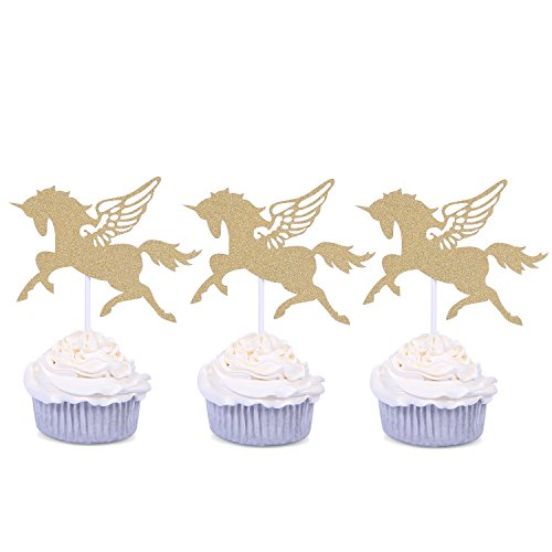 24 PCS Golden Unicorn Cupcake Toppers Handmade Cake Decors