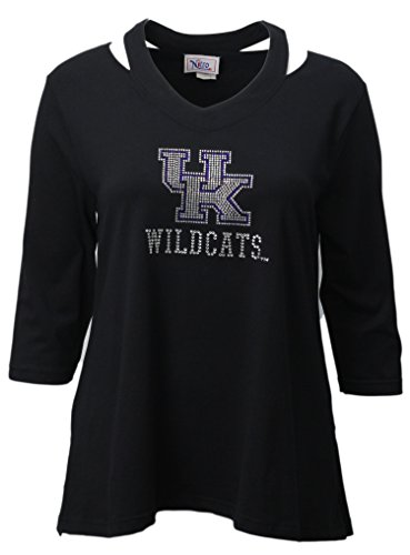 Nitro USA NCAA Kentucky Wildcats Women's Rhinestone UK Split Neck Top, Large, - Neck Rhinestone