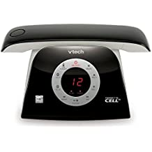 VTech DECT 6.0 Cordless Phone, Connect to cell, Retro Design with Rotary-inspired Keypad, Answering System and Caller ID, Black