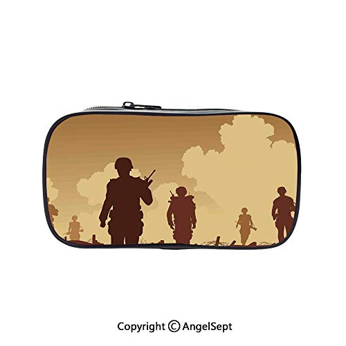 Pen Case Office College School Large Storage,Soldier Shadows with Military Costumes and s Walking on Patrol Print Brown Cream 5.1inches,Box Organizer New Arrival]()