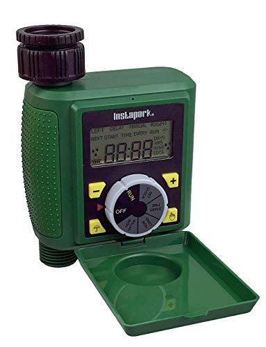 Instapark PWT-07 Outdoor Waterproof Digital Programmable Single Outlet Automatic On Off Water Faucet Hose Timer with Rain Delay and Manual Control (Renewed)
