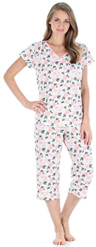 Sleepyheads Women's Sleepwear Cotton Short Sleeve V-Neck Top and Capri Pajama Set (SHCJ1730-5049-XL)