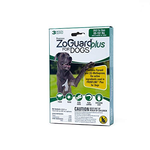 ZoGuard Plus Flea and Tick Prevention for Dogs, X-Large 89-132 lbs, 3 Months, 3 Doses (Frontline Plus For Small Dogs Best Price)