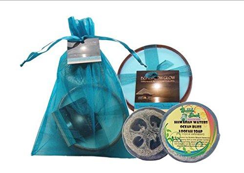 Bubble Shack Hawaii 492772008030 Hawaiian Waters Loofah Soap- Small Wood Candle - Pack of 2